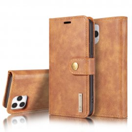 DG.MING 2-in-1 Magnet Wallet iPhone 12/12 Pro Brown - Techhuset.se