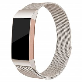 Milanese Loop Armband Fitbit Charge 3/4 Champagne Gold - Techhuset.se