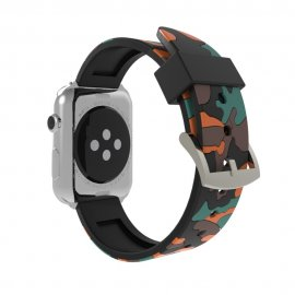 Silikonarmband Apple Watch 42/44mm Kamouflage Orange - Techhuset.se