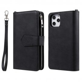 Zipper Magnet Leather Wallet iPhone 12 Pro Max Svart - Techhuset.se