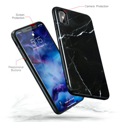 ESR Slim Soft Skal iPhone X/XS Marmor Svart bild 3
