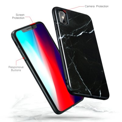 ESR Slim Soft Skal iPhone XS Max Marmor Svart bild 2