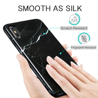 ESR Slim Soft Skal iPhone XS Max Marmor Svart bild 6