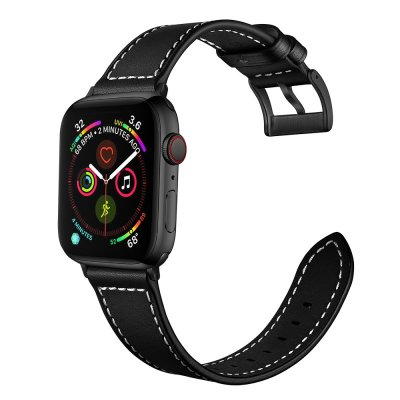 Techhuset Klassiskt Läderarmband Apple Watch 42mm/44mm Svart bild 4